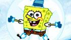 Sponge Bob is making snowmen!