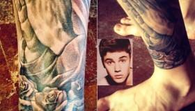 Justin Bieber gets a new tattoo