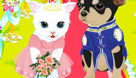 Cat And Dog Wedding Dress Up