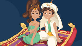 Aladdin and Jasmine Kissing
